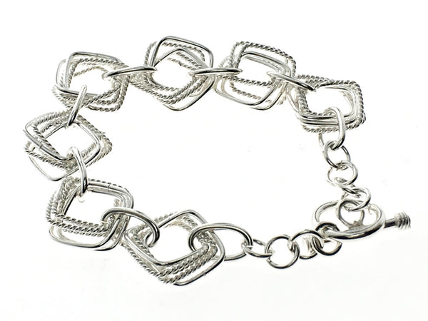 Square Triple .925 Sterling Silver Link Bracelet - Essentially Silver Jewelry