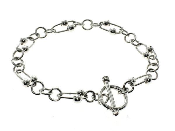 Double Ball Oval .925 Sterling Silver Bracelet - Essentially Silver Jewelry