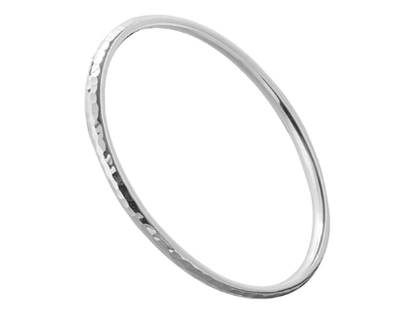 Beaten Golf 2mm Round Sterling Silver Bangle - Essentially Silver Jewelry
