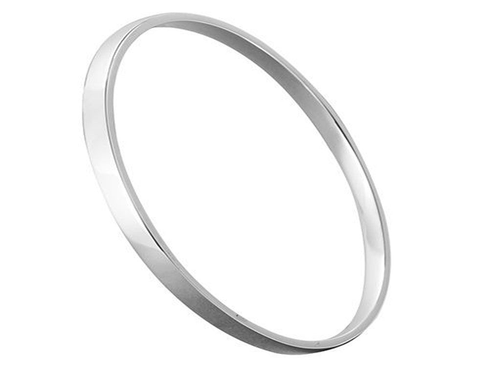 Plain 4mm Band Sterling Silver Bangle - Essentially Silver Jewelry