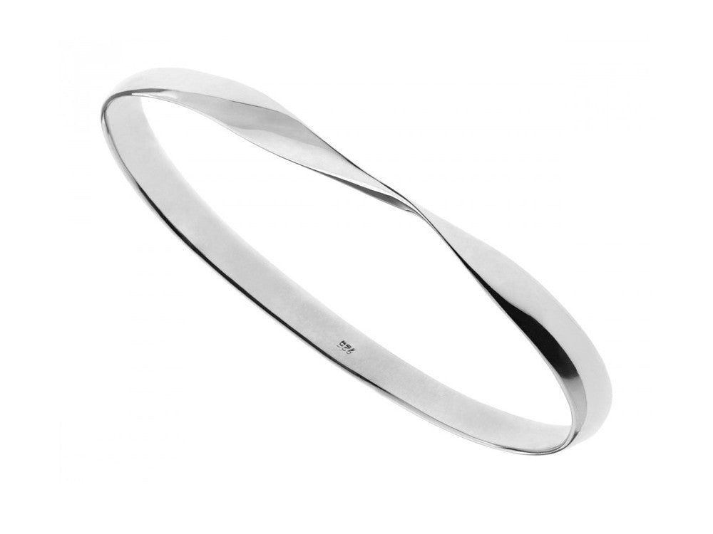 Plain Twisted 6mm .925 Sterling Silver Bangle - Essentially Silver Jewelry