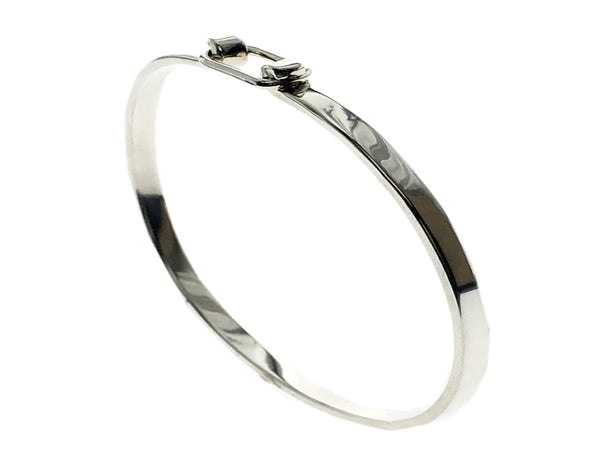 Hook Catch Sterling Silver Bangle - Essentially Silver Jewelry