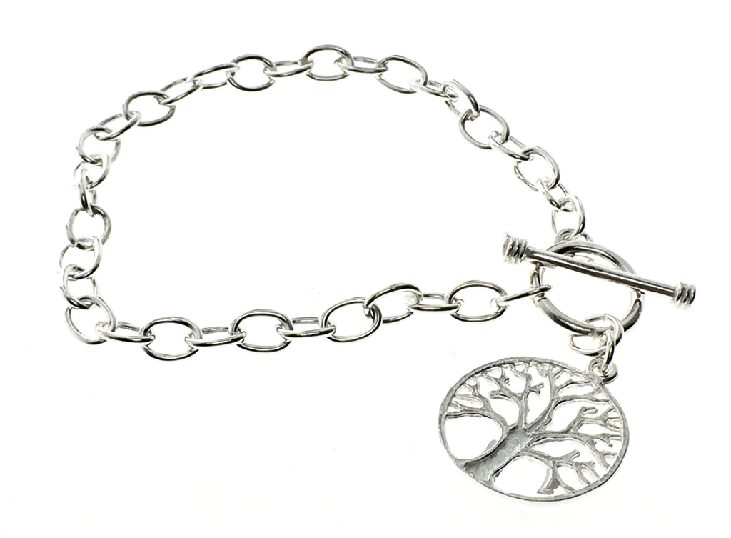 Chain link tree of life sterling silver bracelet - Essentially Silver Jewelry