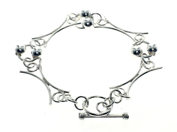Geometric Ball Link Sterling Silver Bracelet - Essentially Silver Jewelry