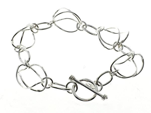 Saturn link sterling silver bracelet - Essentially Silver Jewelry