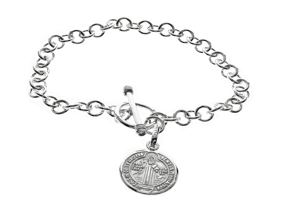Coin pendant chain sterling silver bracelet
