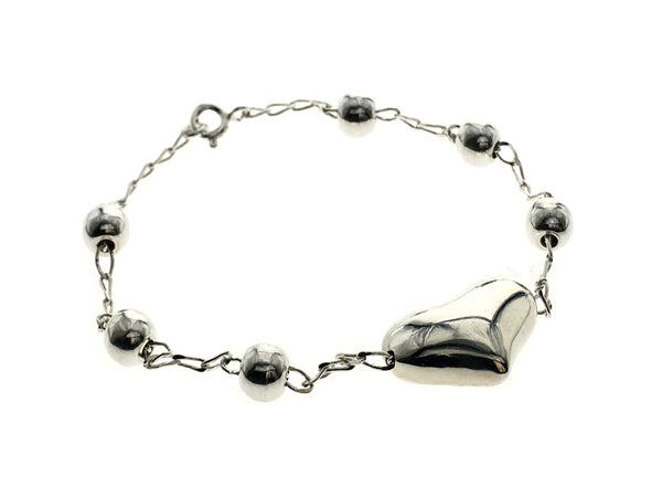 Ball & Heart Sterling Silver Bracelet