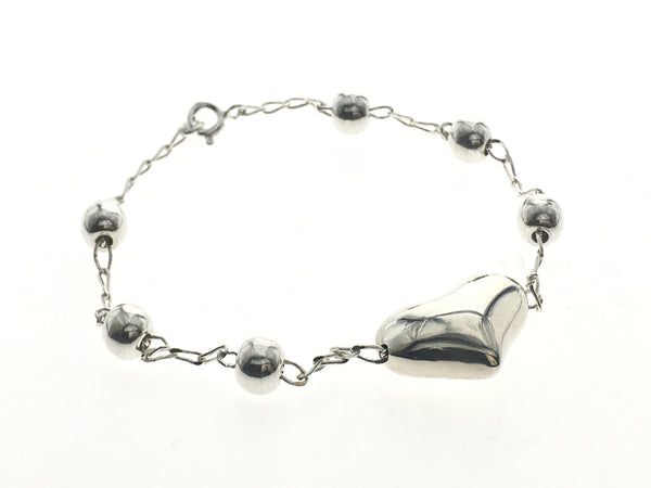 Ball & Heart Sterling Silver Bracelet - Essentially Silver Jewelry