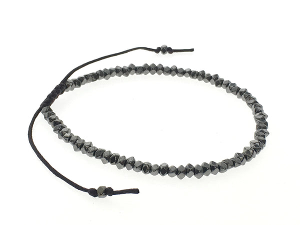 Beaded Metal Black Adjustable Bracelet - Essentially Silver Jewelry