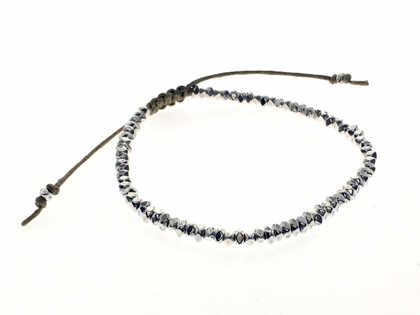 Beaded Metal White Adjustable Bracelet - Essentially Silver Jewelry