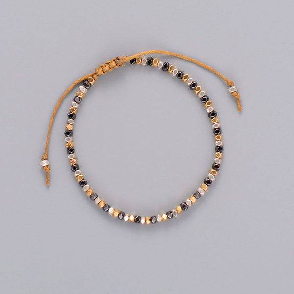 Beaded Metal Black/Silver/Gold Adjustable Bracelet - Essentially Silver Jewelry