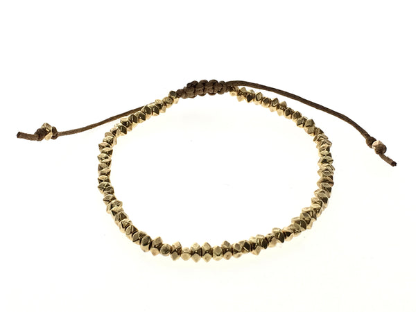 Beaded Metal Gold Adjustable Bracelet - Essentially Silver Jewelry