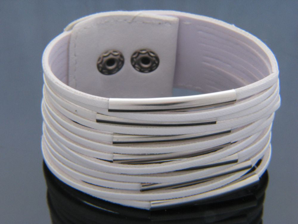 Multi Layer White PU Bracelet - Essentially Silver Jewelry