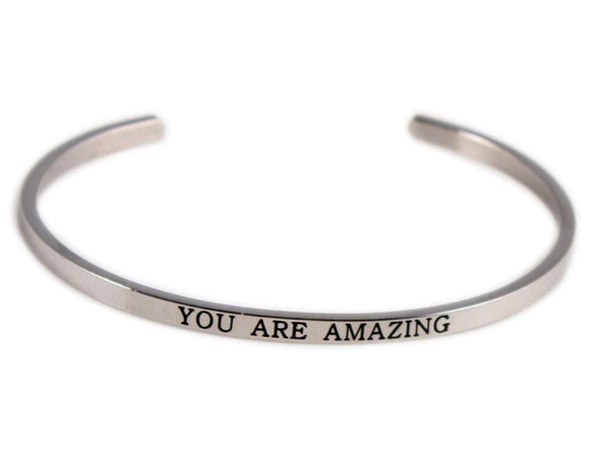 "Inspirational Stainless Steel ""You are amazing"" Cuff"