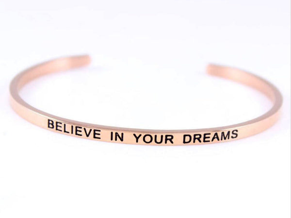 "Inspirational Stainless Steel Rose Gold ""Believe in yourself"" Cuff"