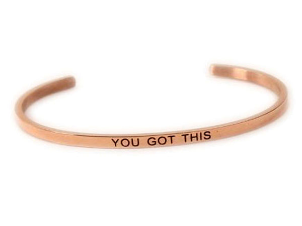 "Inspirational Stainless Steel Rose Gold ""You got his"" Cuff"