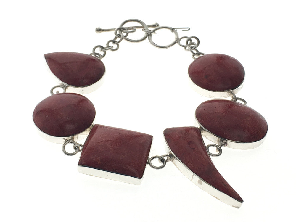 Red coral shaped .925 sterling silver bracelet - Essentially Silver Jewelry