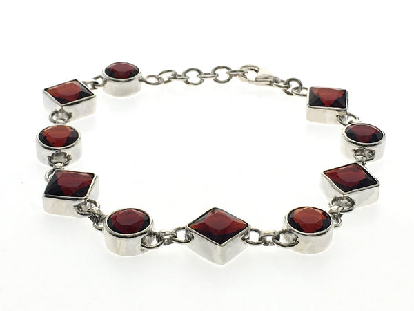 Garnet Shapes Sterling Silver Bracelet - Essentially Silver Jewelry