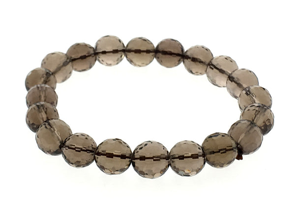Stretchy Smoky quartz 8mm hammered Ball Bracelet - Essentially Silver Jewelry