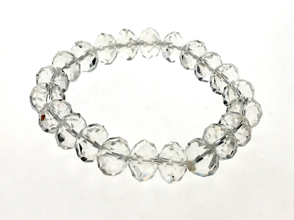 Stretchy Crystal 9mm Oval Faceted Bead Bracelet - Essentially Silver Jewelry