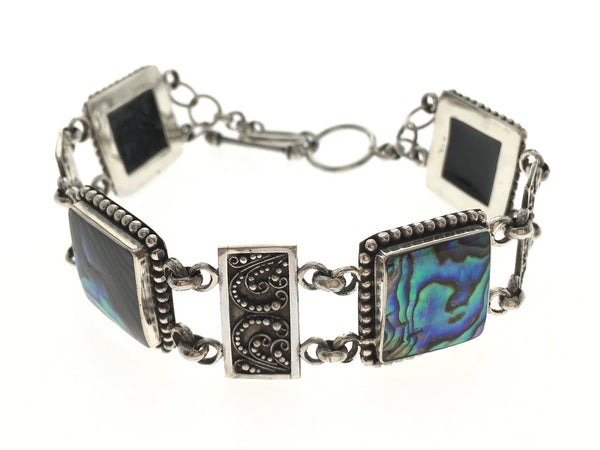 Paua Boxed Filagree .925 Sterling Silver Bracelet - Essentially Silver Jewelry