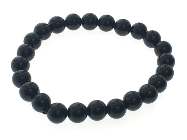 Stretchy Onyx 8mm Ball Bracelet - Essentially Silver Jewelry