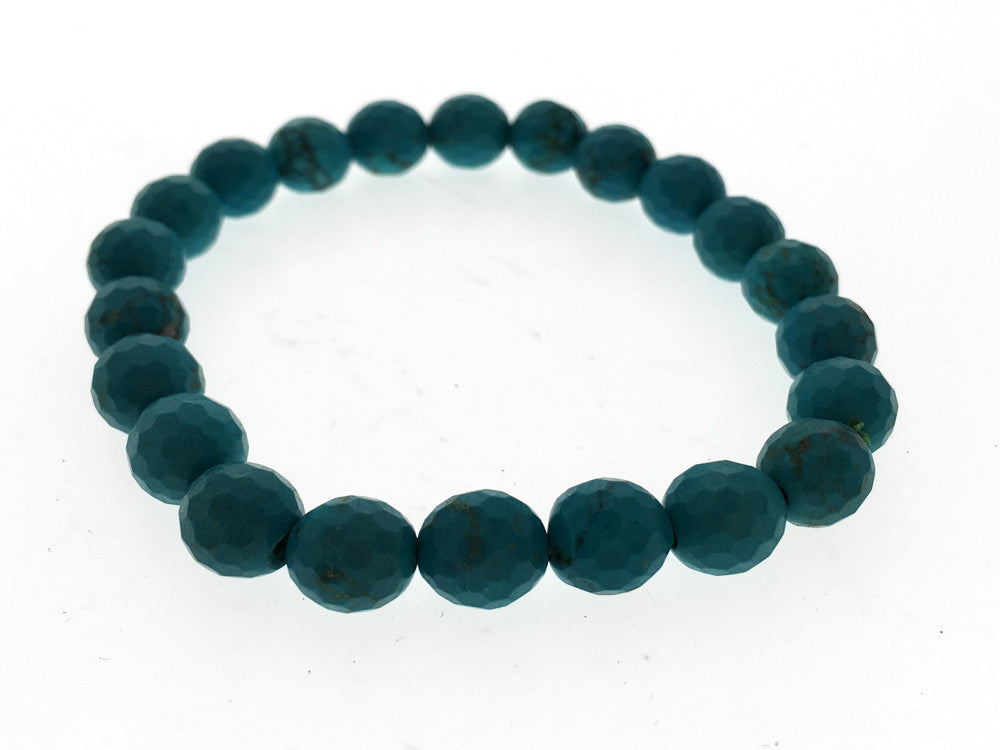 Stretchy Turquoise 7mm Hammered Resin Ball Bracelet - Essentially Silver Jewelry