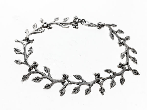 Leaf .925 Sterling Silver Strand Bracelet - Essentially Silver Jewelry