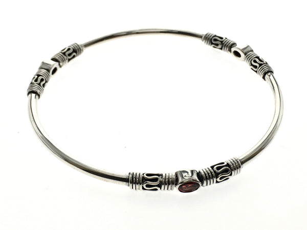 Garnet Stone Bali Sterling Silver Bangle