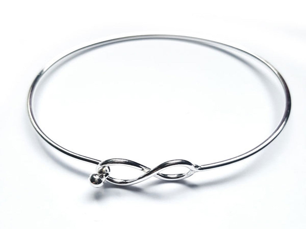 Wire Figure 8 Catch Sterling Silver Bangle - Essentially Silver Jewelry