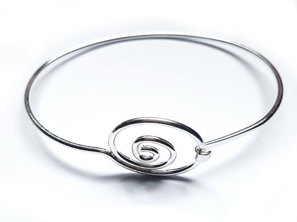Wire Spiral Catch Sterling Silver Bangle - Essentially Silver Jewelry