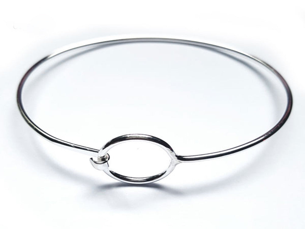 Wire Circle Catch Sterling Silver Bangle - Essentially Silver Jewelry