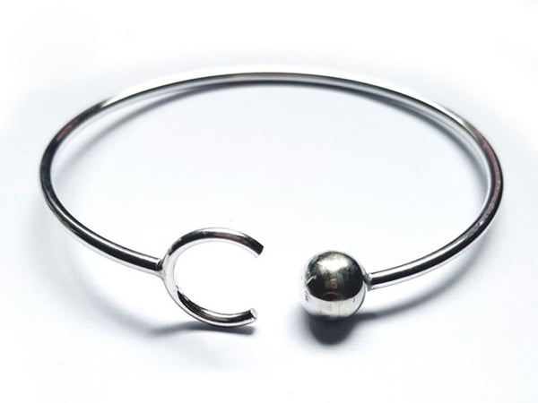 Wire Ball & C Sterling Silver Cuff - Essentially Silver Jewelry