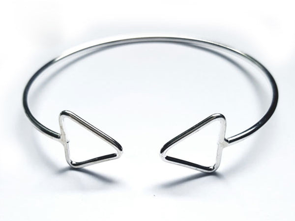 Wire Triangle Ends Sterling Silver Cuff - Essentially Silver Jewelry
