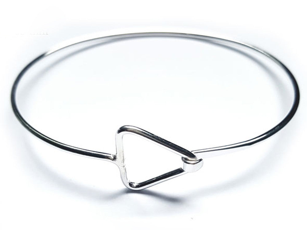 Wire Triangle Catch Sterling Silver Bangle - Essentially Silver Jewelry