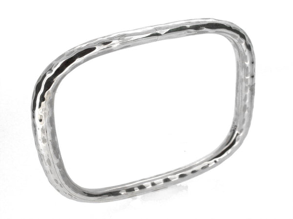 Beaten Square 5mm Sterling Silver Bangle - Essentially Silver Jewelry