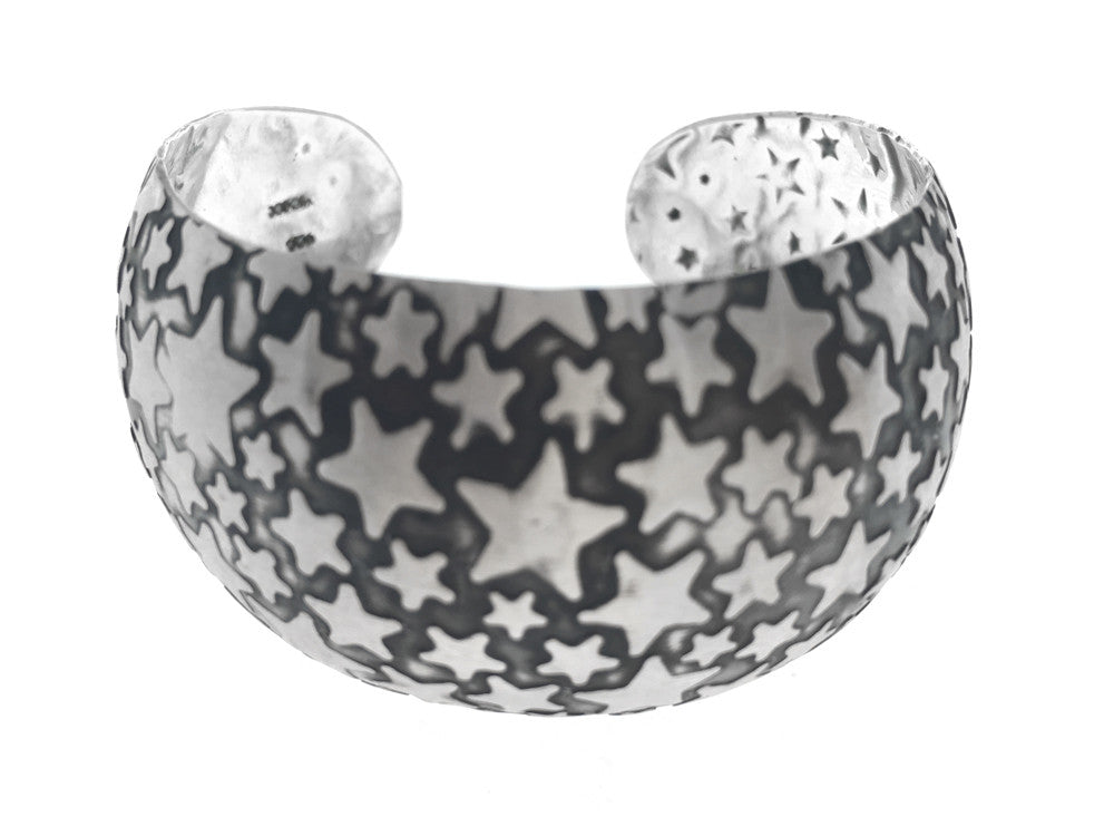 Oxidised Star Sterling Silver Cuff - Essentially Silver Jewelry