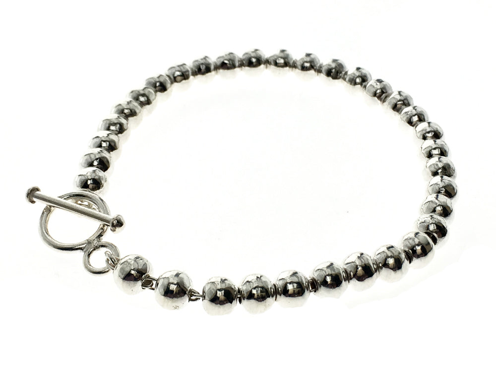 Ball 6mm Hammered Sterling Silver Bracelet - Essentially Silver Jewelry