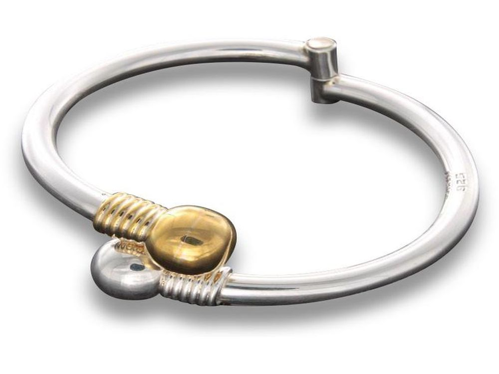 Snap Lock Hinged with Gold Accent Sterling Silver Bangle