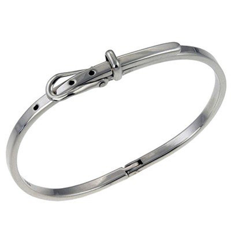 Buckle Catch Sterling Silver Bangle