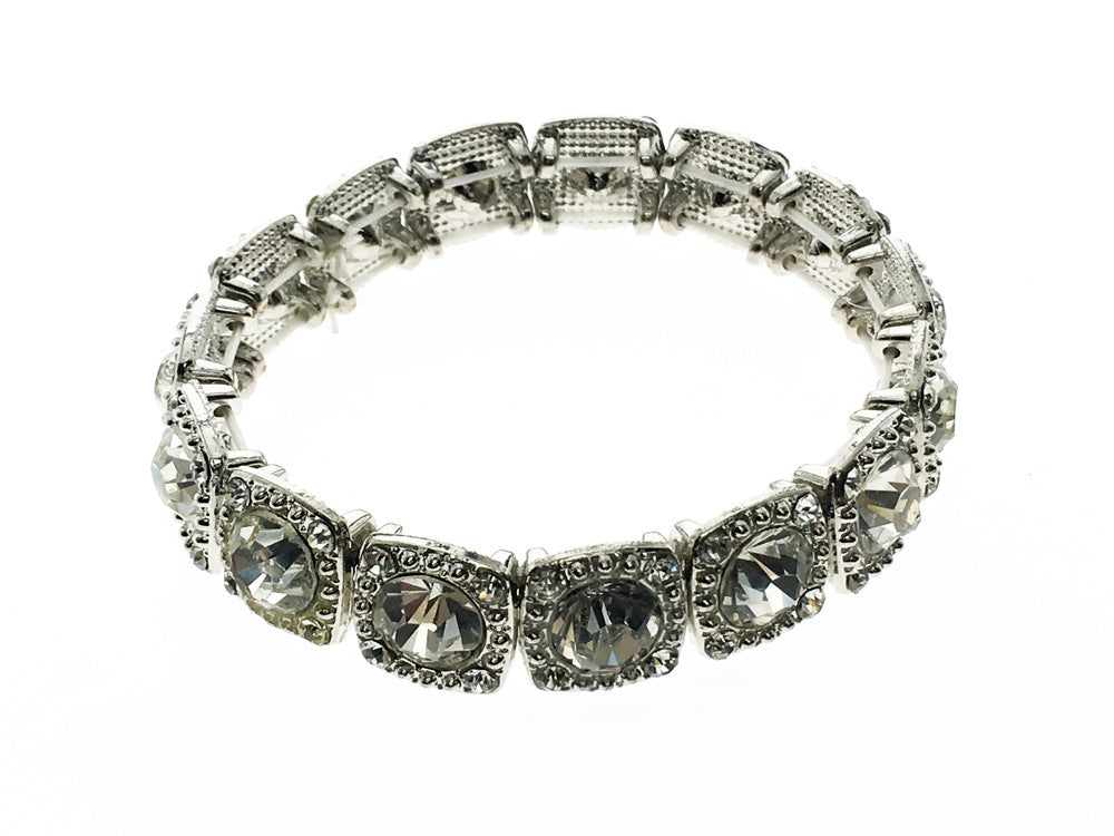 Rhinestone crystal platinum plated bracelet - Essentially Silver Jewelry