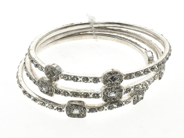 Rhinestone crystal bangle 3 pces - Essentially Silver Jewelry