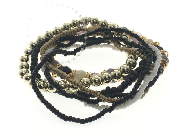 Multi Layer Bead Bracelet Black - Essentially Silver Jewelry