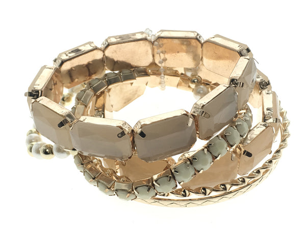 Multi Layer Charm bead Bangles White - Essentially Silver Jewelry