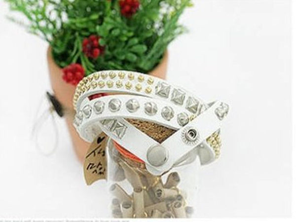 Multi-Layer Three Leather Studded Bracelet - Essentially Silver Jewelry