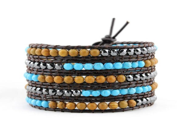 Wrap 5 Hand Woven Turquoises/Stone Alloy Bracelet - Essentially Silver Jewelry