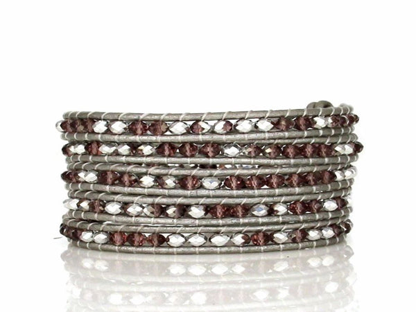 Wrap 5 Hand Made Crystal Beaded Bracelet - Essentially Silver Jewelry