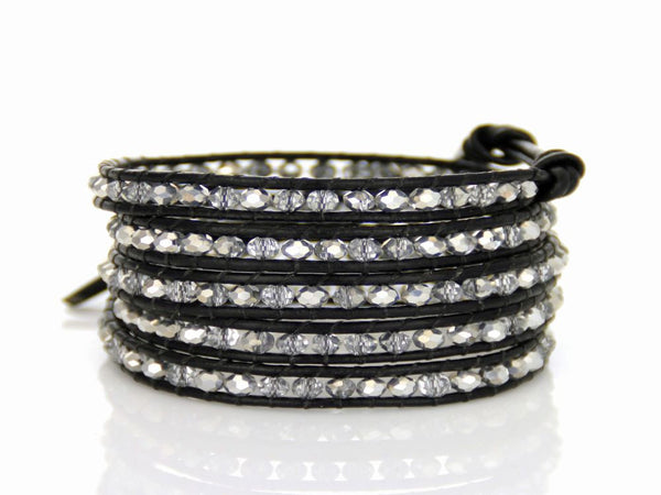 Wrap 5 Crystal Beaded Leather Bracelet - Essentially Silver Jewelry