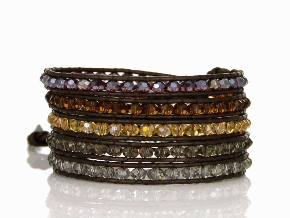 Wrap Mixed Color Crystal Leather Bracelet