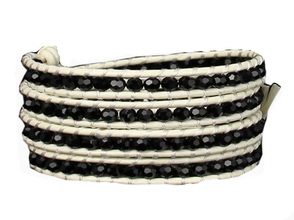 Wrap Black Crystal Leather Bracelet - Essentially Silver Jewelry